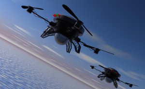 Drones flying through the air.