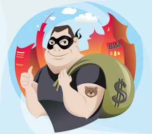 The vector illustration of the Robber